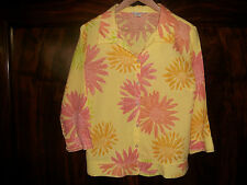 Fresh Produce M Linen Blouse 3/4 Length Sleeves Fitted Yellow Orange Floral