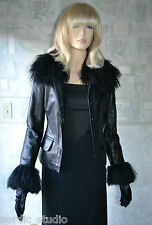 GENUINE BLACK LAMBSKIN LEATHER WITH MONGOLIAN LAMB FUR TRIM JACKET. SIZE XS