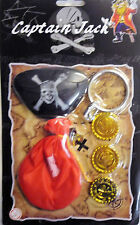 Pirates Fancy Dress Accessories Set (Gold Coins, Eye Patch, Earring, Coin Bag)