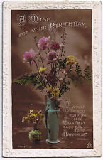 A Wish For Your Birthday -  Vintage Postcard - Floral Design with stamp 1923