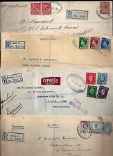 UK GB 1900 1940's COLLECTION OF 7 REGISTERED COVERS TO US GERMANY & EXPRESS MAIL