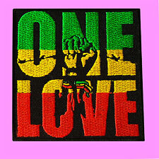 One Love Bob Marley Reggae Music Hand Jamaica Rasta Iron On Embroidered Patch