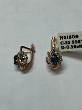 "RUSSIAN STYLE 585"" (14 k) ROSE GOLD DIAMOND EARRINGS WITH SAPPHIRES"