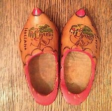 Vintage Windmill Wooden Dutch Shoes Clogs Made In Holland Wall Decor 1950's