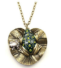 Charm Vintage Lotus Leaves With Enamel Glazed Crystal Frog Pendant Long Necklace