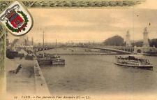 PARIS Vue générale du Pont Alexandre III (écusson)