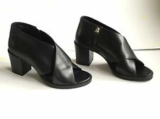 Cos Size 39 UK 6 Black Leather Open Peep Toe Block Heeled Shoes Side Zip Ladies
