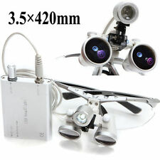 Silver Dental Surgical Medical Binocular Loupes 3.5X 420mm + LED Head Light Lamp