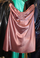 superb womans shiny satin coffee evening dress knee length party stopper uk 18