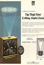 "VINTAGE AD SHEET #2069 - HOYLE ""HIGH TIME"" CEILING ALARM CLOCK"
