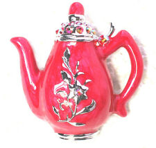 Red AB Rhinestone Crystal Teapot Pin Brooch For Tea Party   R13