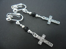 A PAIR OF  TIBETAN SILVER DANGLY CROSS  CLIP ON    EARRINGS. NEW.