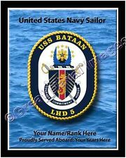 USS Bataan LHD 5 Personalized Ship Crest Print on Canvas 2D Effect