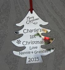 Personalised  Babies 1st/First Christmas Tree Decoration Gift Mirror Finish