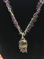 NWOT ECHO OF THE DREAMER FLUORITE CABOCHON & AMETHYST NECKLACE/PENDANT .925 S/S
