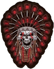 Indiani TESCHIO ricamate 18x14 cm Indian SKULL PATCH sangue LETHAL THREAT Gilet