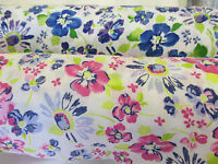 White & Pink/Blue Summer Petal Flowers/Floral Polycotton Fabric.