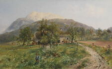Beautiful Oil painting farmer house in spring man on pathway handpainted canvas