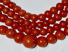 Blood RED no dye natural coral beads Post Art Deco Vintage Necklace