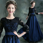 Blue-black Lace Satin Formal Evening Prom Party Dress Ballgown Long Skirt C233
