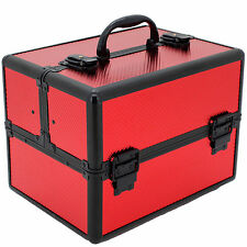 CB15418RD Aluminum Makeup Train Case Red Store Organize Makeup Jewelry
