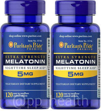2 X Puritan's Pride Melatonin 5 mg Sleep Aid Total 240 Tablets MadeinUSA