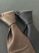 2 DKNY Donna Karan 100% SILK Dark Gray - Black And Brown Bronze NECK TIE