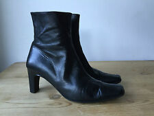 KATE KUBA LADIES BLACK LEATHER ANKLE BOOTS UK6 EU39