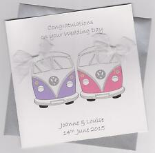 Personalised Handmade Camper Van Female Civil Partnership/Wedding Card