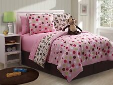 Pink Monkey & Polka Dots Twin Single Comforter, Sham & Monkey (3 Piece Bedding)