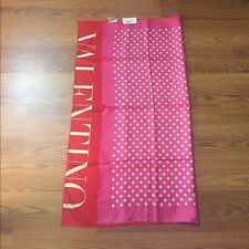 NWT Valentino Women Fashion Red Pink Polka Dot Reversible Silk Scarf $295