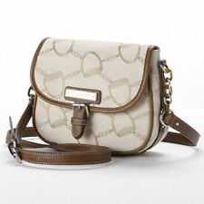 NWT CHAPS RALPH LAUREN LENOX WHEAT JACQUARD BROWN CROSSBODY SLING BAG PURSE SALE