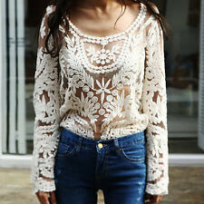 Beige Sexy Women's Lace Crochet Flower Loose Long Sleeves Pullover Top