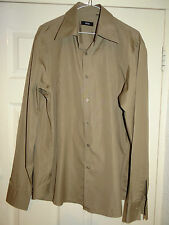 HUGO BOSS SMART DESIGNER BROWN PLEATED FRONT CASUAL/DRESS SHIRT EU 43 UK 17