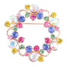 Fashion color wedding bouquet Jewelry Gold Crystal Flower Brooch Pin