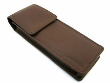 Brown Soft Napa Leather Triple Magnetic Flap Pen Case/Pouch