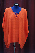 NWT Ralph Lauren Polo S/M Orange Poncho Style Linen Cotton Knit Sweater $135