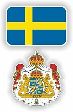 SWEDEN flag + coat of arms 2x stickers decals FLAGGA