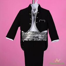 5pc Set Formal Suits Outfits Christening Wedding Page Boy Black Size 3-4 ST028A