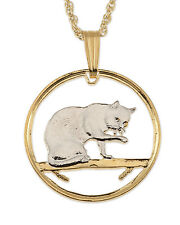 "Cat (British Blue) Pendant & Necklace Isle Of Man Cutcoin 3/4"" diameter (# 669)"