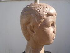 Lampe sculpture buste d'enfant romain vers 1970 pierre reconstituée