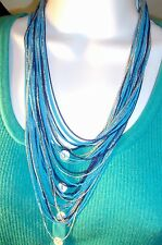 SUSAN GRAVER MULTI STRAND Necklace W/ SILVER TONE LIGHT & DARK BLUE CHAINS NWT