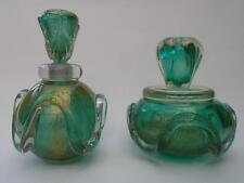 Archimede Seguso Murano Turquoise & Gold Glass Perfume Bottle & Bowl 1950s Italy
