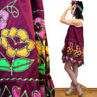 Vintage Flower Power Mexican Embroidered Ethnic Tent Tunic Scalloped Dress 70s