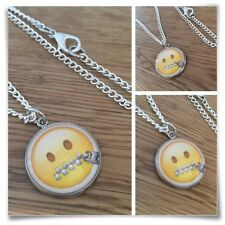 Emoji Zipper Mouth Zip Face Quiet Charm pendant necklace txt geek