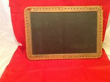Antique School Slate Double Sided Chalk Board Twined Wood Cloth Edges NICE