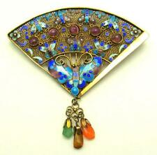 Art Deco Chinese Gilt Silver Gem Stones Cloisonne Enamel  Butterflies Fan Brooch
