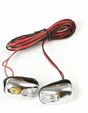White Pair Universal Chrome LED L.E.D. Windscreen Wind Screen Washer Jets Lights