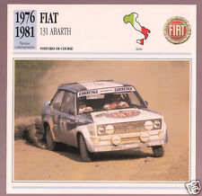 1976-1981 Fiat 131 Abarth Rally Car Photo Spec Sheet Info Stat French Atlas Card