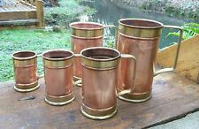 Rare set 5 French vINTAGE COPPER BRASS MEASURES OR CONTAINERS GREAT STORAGE POTS